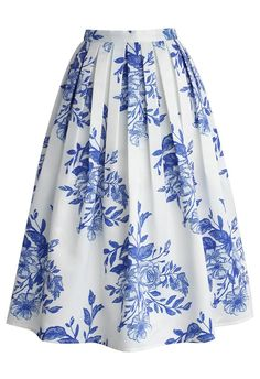 Blue Floral Sketch Pleated Midi Skirt - CHICWISH SKIRT COLLECTION - Skirt - Bottoms - Retro, Indie and Unique Fashion