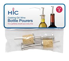 Wine Pourers - HIC Pourers with Natural Cork Inserts Set of 2 ** You can get more details by clicking on the image.