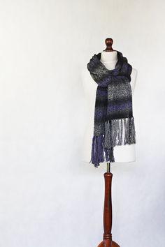 Gray shawl knit scarf knit shawl purple scarf by KnitwearFactory, $75.00