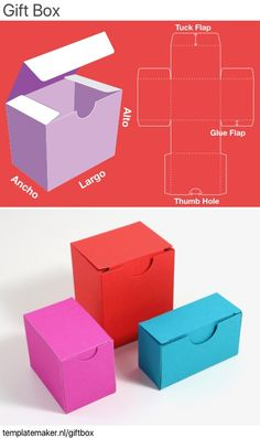 Unlimited, free and custom sized GIFT BOX templates. Diy Gift Box Template, Paper Box Template, Origami Templates, Paper Gift Box, Paper Gifts, Paper Boxes, Diy Paper Box, Paper Art, Making Gift Boxes