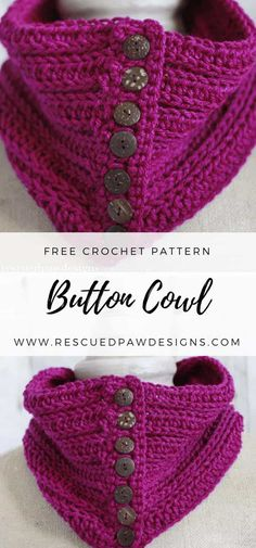 Learn how to make the Penn Button Crochet Cowl Pattern by Rescued Paw Designs. Click to Read or Pin and Save for Later!
