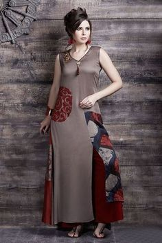 Picture of Magnetic grey & red satin printed kurti