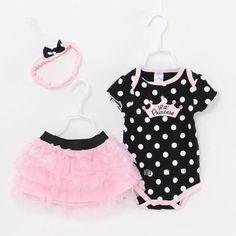 Baby Girl Birthday Romper 3 Piece Suits Short Romper +Tutu Skirt + Headband Summer Girls Clothing sets for Infant Outfits Baby Girl Skirts, Baby Girl Romper, Baby Dress, Baby Girls, Infant Girls, Toddler Girls, Newborn Outfits, Baby Outfits, Kids Outfits