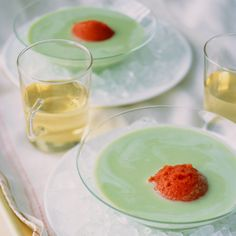 This savory granita is the perfect topping for our Yogurt-Basil Soup.