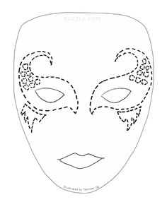 Drama mask pattern. Use the printable outline for crafts, creating