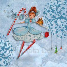 © Cartita Design - Christmas - tree - presents - girl - illustration - greeting card - art