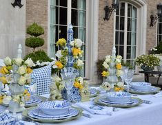 Setting a table with tulipieres and pagoda melamine. - The Enchanted Home White Table Settings, Beautiful Table Settings, White Tables, Outside Furniture, Cheap Furniture, Christmas Is Over, Enchanted Home, Yellow Interior, Dining Room Inspiration