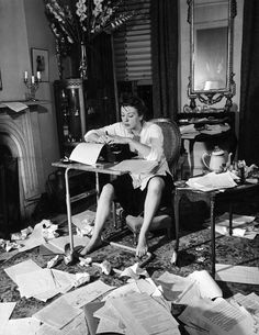 """Gypsy Rose Lee working on her mystery novel """"The G-String Murders"""" in 1941."""