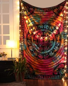 Tie Dye Elephant Mandala Hippie Tapestry Hippy Mandala Bohemian Tapestries Indian Dorm Decor Psychedelic Tapestry Wall Hanging Ethnic Decorative * Check out this great product. Cosy Home Decor, Funky Home Decor, Hippie Home Decor, Bohemian Decor, Mandala Mural, Mandala Tapestry, Mandala Throw, Hanging Tapestry, Tapestry Wall Hanging