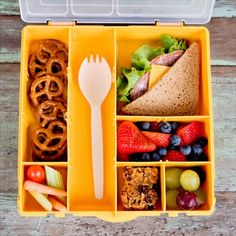 Babble Best Kids Lunch Boxes My Square Meal Yellow Bento Box Dinner Recipes For Kids, Healthy Dinner Recipes, Kids Meals, Healthy Snacks, Healthy Kids, Lunch Box Bento, Box Lunches, Bento Lunchbox, Boite A Lunch