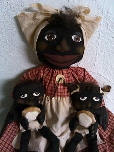 Large Mammy Doll with Babies  Primitive Black by primitivewishfuls, $58.00