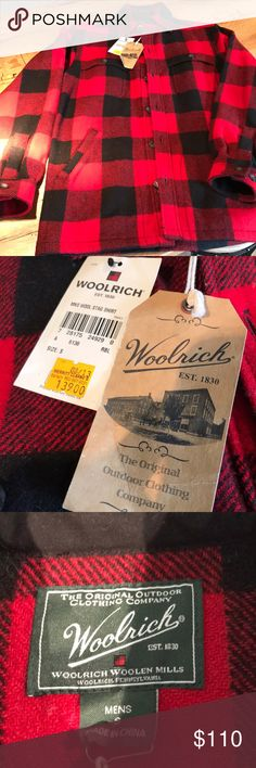 Woolrich wool shirt Men's Woolrich shirt Buffalo plaid - black and red New with tags Woolrich Shirts