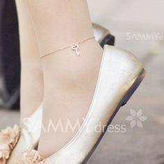 $14.08 Elegant Ladylike Style Love Key Pendant Embellished Anklet For Women