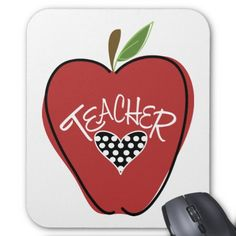 Red  Apple & Heart Teacher Mousepad from The Pink Schoolhouse