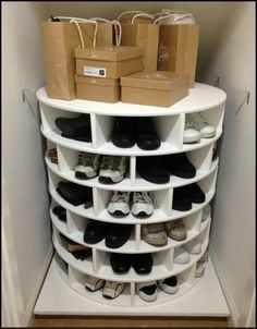 DIY Lazy Susan Shoe Storage This Lazy Susan Shoe Organizer Keeps Your Shoes Neat, Organized, And All in One Place Closet Storage, Diy Storage, Bedroom Storage, Understairs Shoe Storage, Shoe Storage Moving, Shoe Closet Organization, Diy Shoe Organizer, Garage Shoe Storage, Storage Place