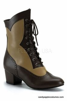 Adult Victorian Brown Lace-up Spectator Boots