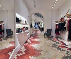 Stella McCartney Milan floor by Raw Edges Design Studio. Hand Dyed wood bricks laid in gorgeous patterns.