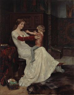 Albert Gustaf Aristides Edelfelt Finnish painter / Queen Blanche of Norway and Sweden with Prince (later King) Hacon, a fantasy painting, Moritz Von Schwind, Queen Of Sweden, Images Vintage, Georges Braque, Pre Raphaelite, Classical Art, Fine Art, Mother And Child, Oeuvre D'art