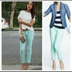 J. Crew mint toothpick ankle skinny jeans Brand new without tags J. Crew Jeans Ankle & Cropped