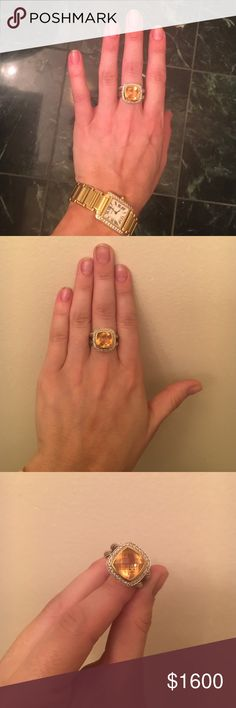 David Yurman Citrine Ring with Diamonds Gorgeous and almost brand new!!! David Yurman Sterling silver and 18-karat yellow gold ring. Faceted Champagne citrine and Pave diamonds, 0.31 total carat weight  Ring, 14mm! One of a kind deal! Less expensive on Ⓜ️ David Yurman Jewelry Rings