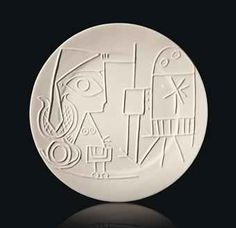 Pablo Picasso - Ceramic plate : Jacqueline au chevalet