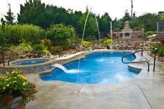 Viking Fiberglass pool, spa and water feature.  Build Latham