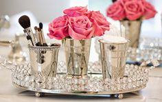The Glam Pad, Mint Julep Cups used for vases & on the vanity Makeup Brush Holder