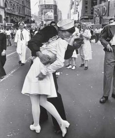 "V-J Day, Times Square, [1945]    or ""The Kiss"", at the end of World War II, in US cities everybody went to the streets to salute the end of combat. Friendship and unity were everywhere. This picture shows a sailor kissing a young nurse in Times Square. The fact is he was kissing every girl he encountered and for that kiss, this particular nurse slapped him."
