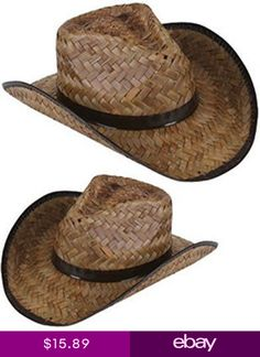 b0dfdb17e66 New Mens Womens Stained Brown Woven Straw Cowboy Hat Private Island New