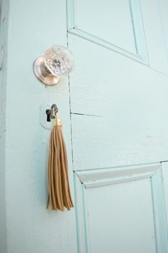 Vintage Sliding Barn Door Glass Knob Key Tassle