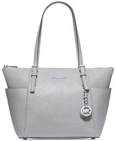 ($248) MICHAEL Michael Kors Handbag, Jet Set Top Zip Tote - Pearl Grey - Shop All Michael Kors Handbags & Accessories - Handbags & Accessories - Macy'...