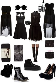 black dresses outfits...love the ones that are sleeveless (the two in the middle) and all the shoes except the tennis shoe looking ones.