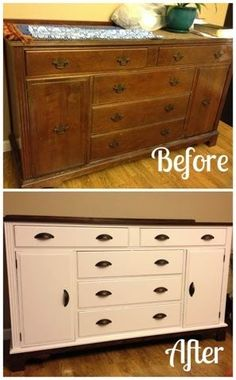 buffet / hutch makeover. buffet re-do. DIY. before & after. How To. Shabby to Chic. furniture flip. paint and stain. Popular with the Poplins