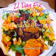 21 Day Fix approved Vegan Meal! Adzuki bean/quinoa burger on a bed of Kale/Romaine lettuce, fresh fruit salad, sweet potato and a Dijon dressing! Yum! All portioned out correctly~1green,1red,1yellow,1purple, 1/2orange~ Gettin my Fix On!