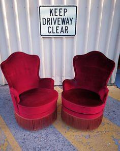 9fcaa299441 Vintage Velvet Red Bedroom  Boudoir Chairs - LUXE