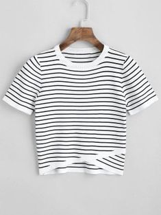 Knitted Overlap Stripes Top - White M
