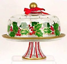 Hand painted Christmas Cake Plates Deck the Halls $70.00. http://www.clearlysusan.com/Hand-painted-Holiday-Cake-Plate-_p_165.html