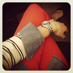 red pants striped sweater and chambray underneath