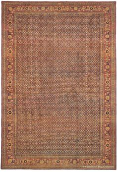 Tabriz, 12ft 5in x 18ft 6in, 3rd Quarter, 19th Century.  What accounts for the deep luster that emanates from this exquisite oversize 19th century Persian Tabriz rug? Why does its intricate repeating design evoke such fascination? This antique carpet's supple wool quality is exceptional. Beyond that, the answer is hidden in the subtle, never-ending color variations of its soft, yet glowing naturally dyed colors that are masterfully choreographed to create a palpable visual depth.