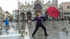 My lovely Mum striking a Warrior Two Pose in St Marks Square, Venice, Italy🙏💕