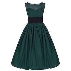 Lindy Bop Serena 1950's Bottle Green Chiffon Cocktail Swing Dress Sizes 8-22  Also comes in Red, Black or Blue