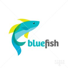Blue Fish logo Nice bright colours and very simple but effective design created with only the name and a fish.