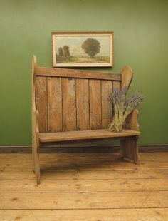 Antique Elm Tavern Bench Settle, Rustic Hall Seat - 588 / LA365588 | LoveAntiques.com Antique Bench, Victorian Era, Plank, Over The Years, Primitive, Flooring, Rustic, Shapes, Antiques