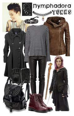 """""""Nymphadora Tonks"""" by potterhead105 ❤ liked on Polyvore featuring AGNELLE, Topshop, Preen, R13, Gianvito Rossi and Wet Seal"""