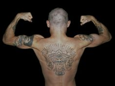 Flea's back and his tattoos.  I always love his back tattoo the most.
