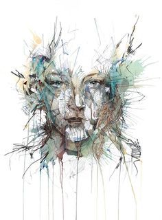 Portraits Drawn with Tea, Vodka, Whiskey and Ink by Carne Griffiths portraits illustration drawing Tea Illustration, Ink Illustrations, A Level Art, Abstract Portrait, Inspiration Art, Art Design, Textile Design, Amazing Art, Cool Art