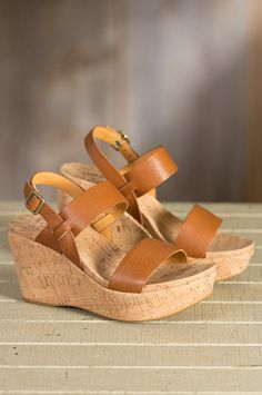 Women's Kork-Ease Austin Leather Wedge Sandals | Overland Sheepskin