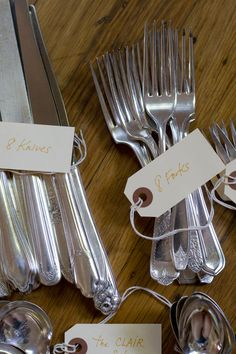 Vintage mismatched silverware. Wedding decor// dinner parties // holiday table // christmas dinner