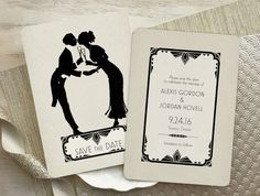 Art Deco Vintage Save the Date 1920s Wedding by GoGoSnap on Etsy