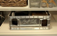 Spray paint old coke plastic crate - great storage